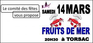 Soirée fruits de mer avec le Comité des fêtes @ Salle Polyvalente du bourg de Torsac