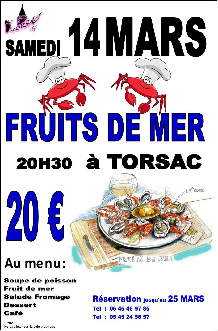 comité des fêtes soirée fruits de mer affiche