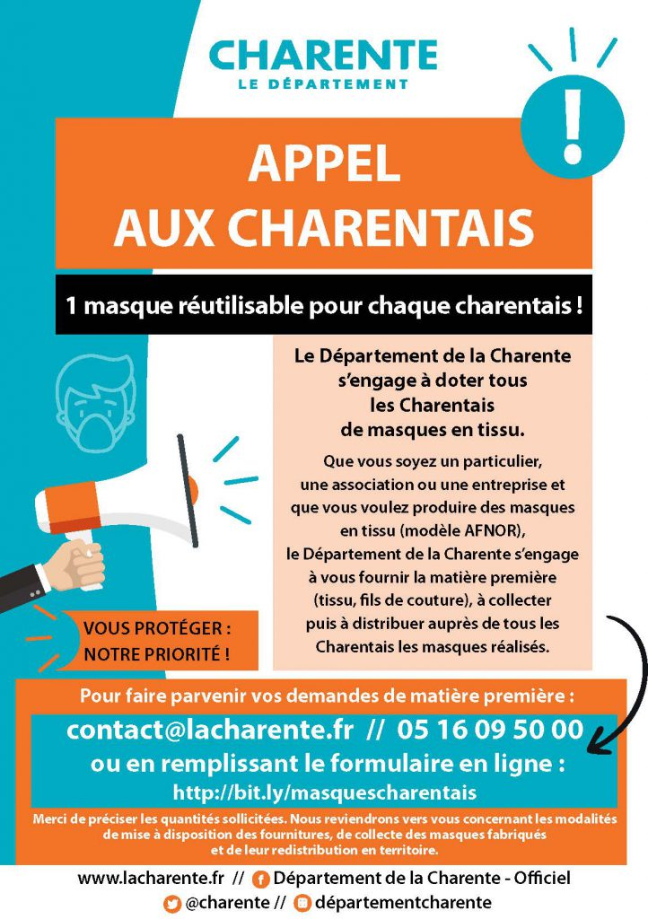 appel charentais - confection masques
