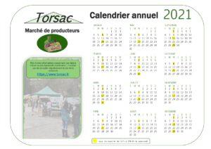 Calendrier annuel marche de producteurs Torsac 2021 300x212